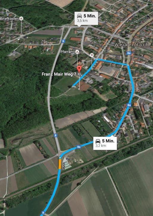 Route zum TC Weikendorf